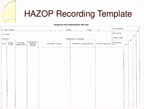 Hazop Template Excel 11 Excel Risk Assessment Template Exceltemplates Exceltemplates