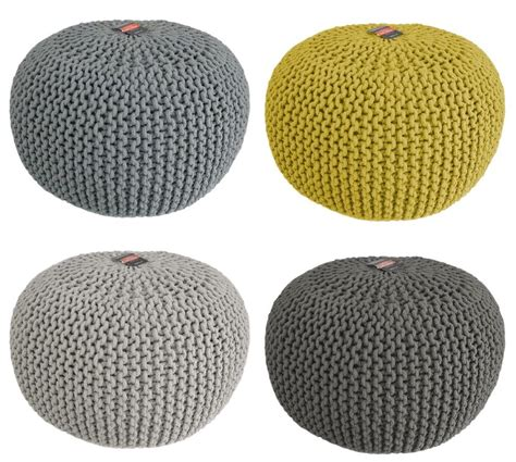knitted pouf chunky knit knitted pouffe foot stool cushion contemporary