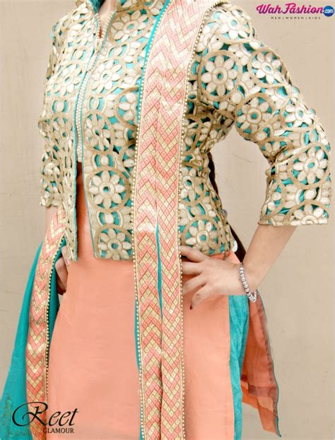 jacket design for punjabi suit stylish peach and turquoise jacket style punjabi suit buy