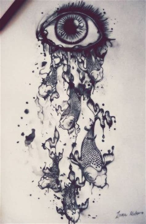 tattoo ink dripping eye dripping with koi fish drawing pinterest eyes