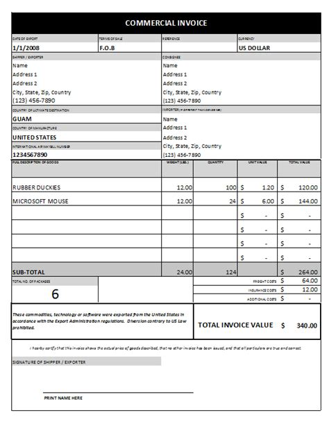 commerical invoice template commercial invoice template 1