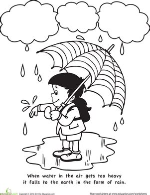 color and learn: rain   worksheet   education.com