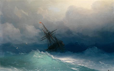 schip in storm ivan aivzovsky clouds paintings sail ship sea ships