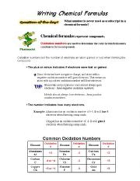 english worksheets writing chemical formulas