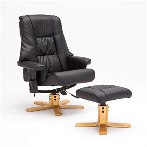 Black Glider And Ottoman Sgs Leisure Recliner Chair Swivel Real Leather Armchair Glider And Ottoman In Black