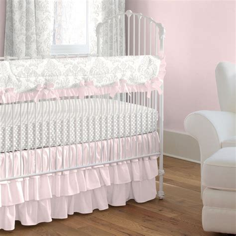 French Gray And Pink Damask Crib Bedding Carousel Designs Pink And Grey Crib Bedding