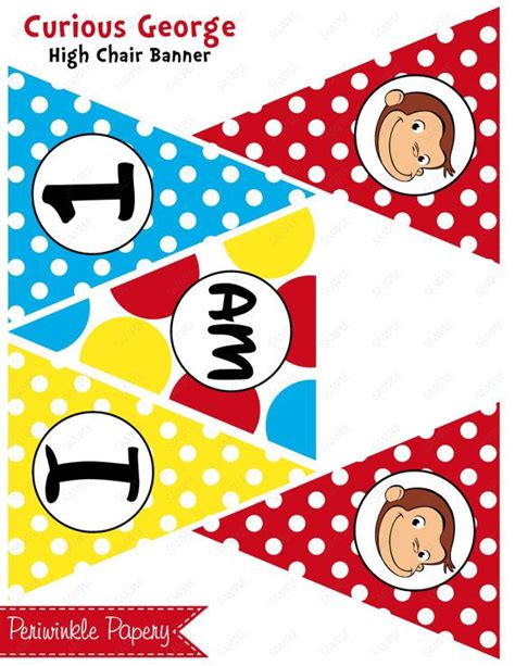 curious george printable birthday banner instant download curious george yellow red by
