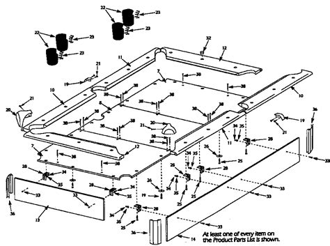 pool table parts diagram tabletop assembly diagram parts list for model 52725187