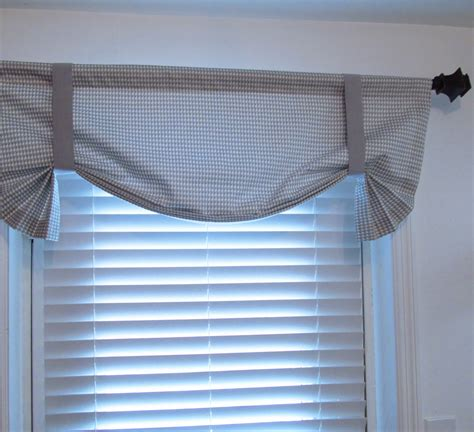 Tie Up Window Curtains Tie Up Curtain Valance Gray White Houndstooth By Supplierofdreams