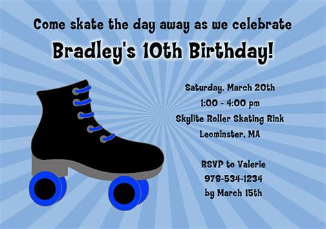 roller skating birthday party invitations drevio