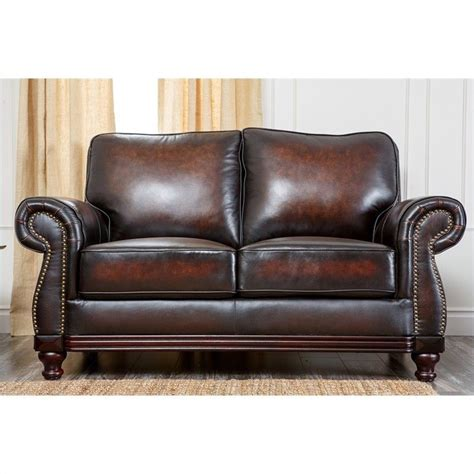 espresso leather loveseat abbyson living barclay leather espresso loveseat ebay