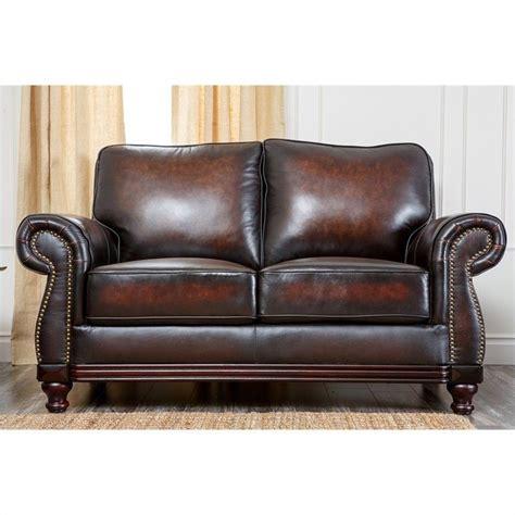 espresso leather loveseat abbyson living barclay leather loveseat in espresso ci