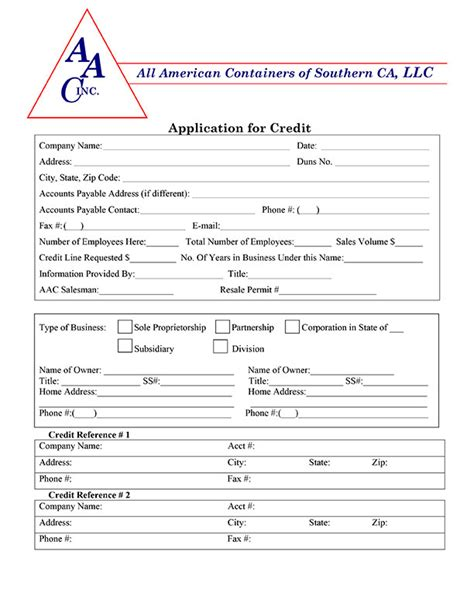 Credit Application Form For Logistics Credit Application Aac So Cal
