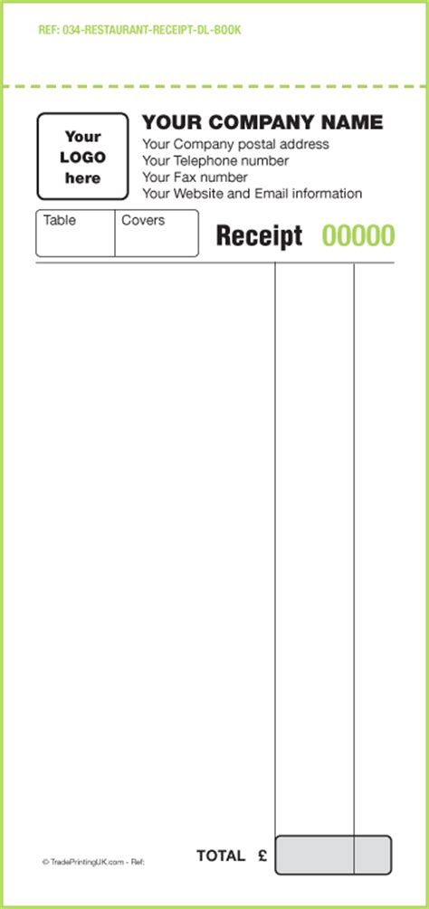 restuarant order receipt template restaurantreceipttemplateword studio design gallery