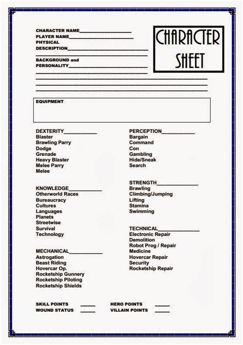 character card template drama farsight pulp science fiction adventure character