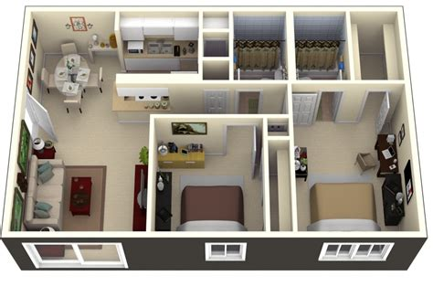 two bedrooms 50 3d floor plans lay out designs for 2 bedroom house or