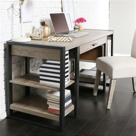 walker edison urban blend computer desk walker edison urban blend computer desk ash grey and black