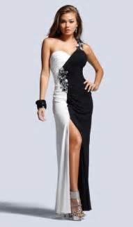 faviana black and white colorblock chiffon prom dress 6710