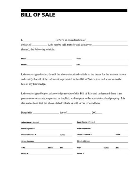 bill of sale missouri template printable sle free car bill of sale template form