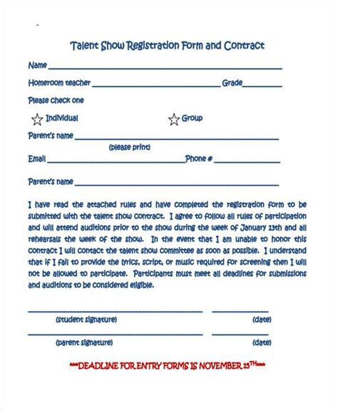 10 talent show registration form sles free sle