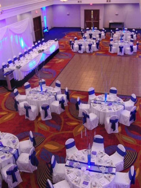 white  cobalt blue wedding reception  wedding