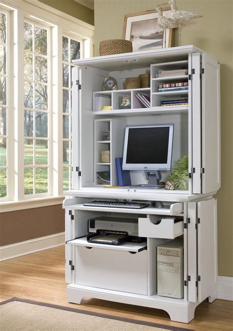 white modern computer armoire with accessories furniture