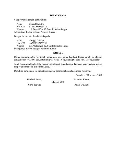 Contoh Surat Kuasa Pengambilan Dokumen by Contoh Surat Kuasa Pengambilan Paspor Terbaru