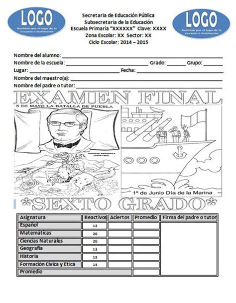 preguntas abiertas de matematicas sexto grado examen final para el sexto grado del ciclo escolar 2014