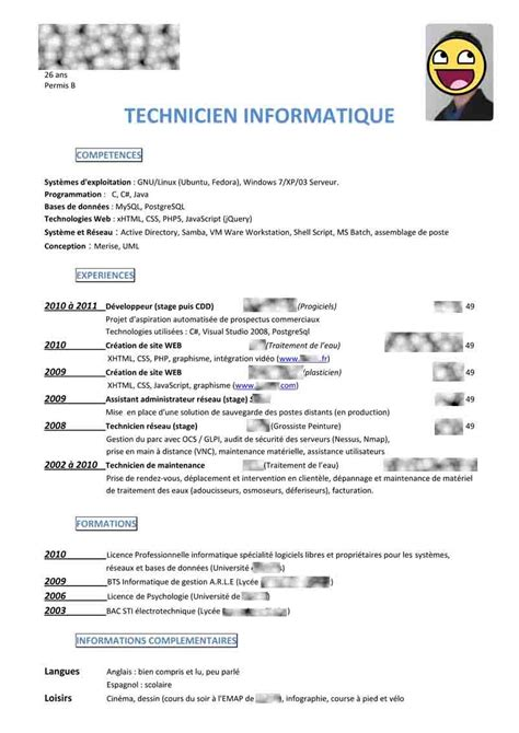 Cv Pour Stage by Comment Faire Un Cv Pour Un Stage De Seconde