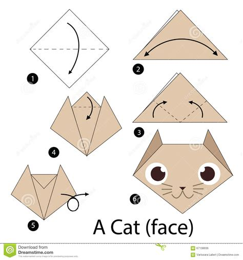 How To Fold An Origami Cat - step by step how to make origami a cat stock