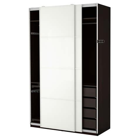 White Clothing Wardrobe Pax Wardrobe Black Brown F 228 Rvik White Glass 150x66x236 Cm