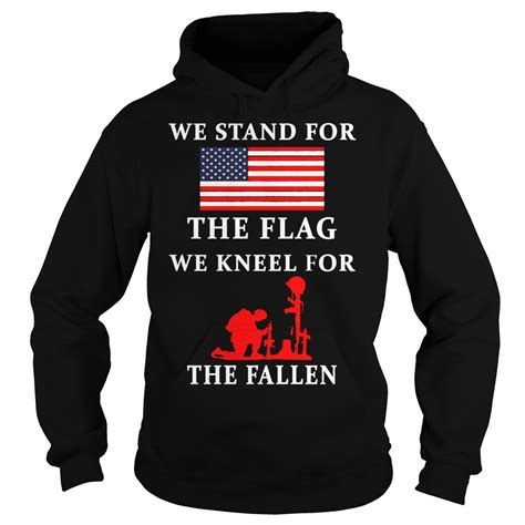 Hoodie Fallen 2 Hitamsweater we stand for the flag we kneel for the fallen shirt