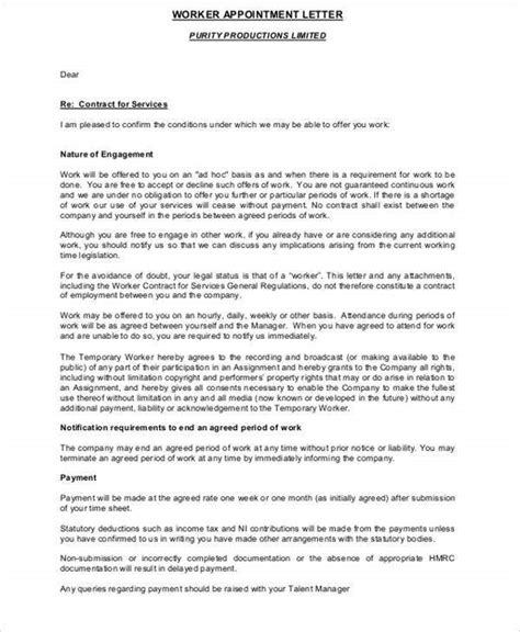 temporary appointment letter templates word