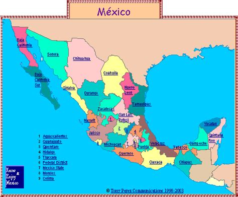 states mexico map mexico map by state