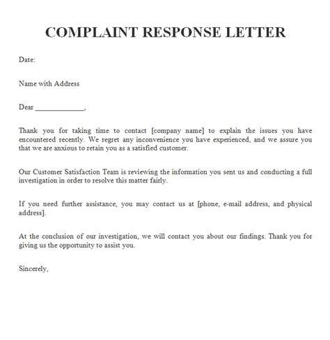 Business Letter Template Response Business Response Letter Template