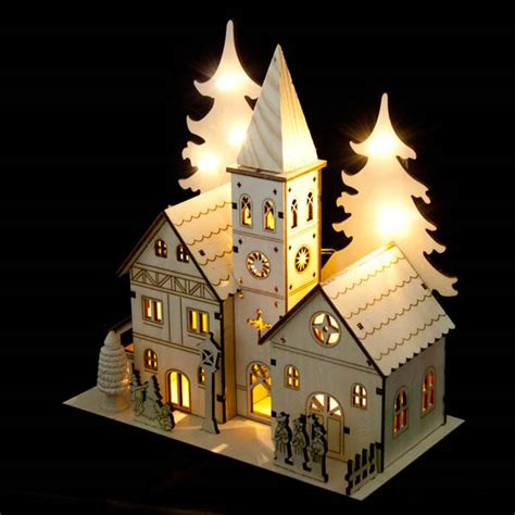 how to make wooden a christmas church noma laser cut crafted wooden 8 white led indoor static single spire church with illuminated