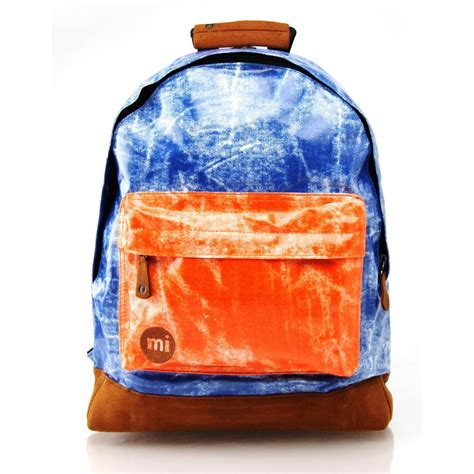 mi pac backpack tie dye contrast blue orange