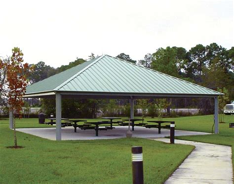 Metall Pavillon by All Steel Single Roof Forestview Square Pavilions