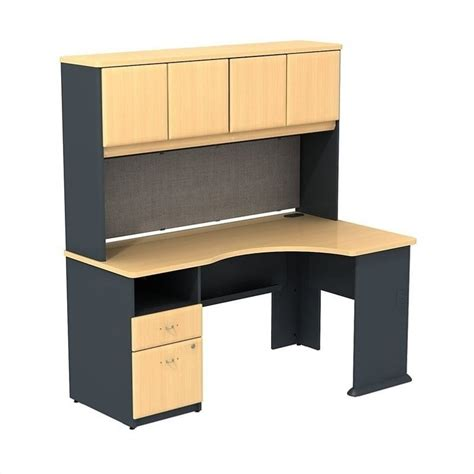 Beech Corner Desk Bush Bbf Series A Expandable Corner Desk With 60w Hutch Storage In Beech Sra007be
