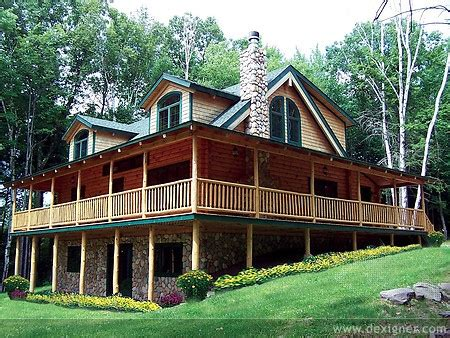 log home with wrap around porch like the offset steps and alta log homes on the front line of new technology