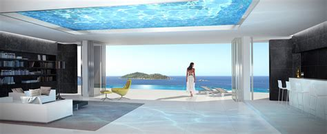 glass bottom pool home with infinity pool and glass bottomed pool rendered