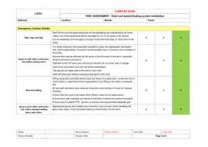 solar roof panel installation risk assessment example to