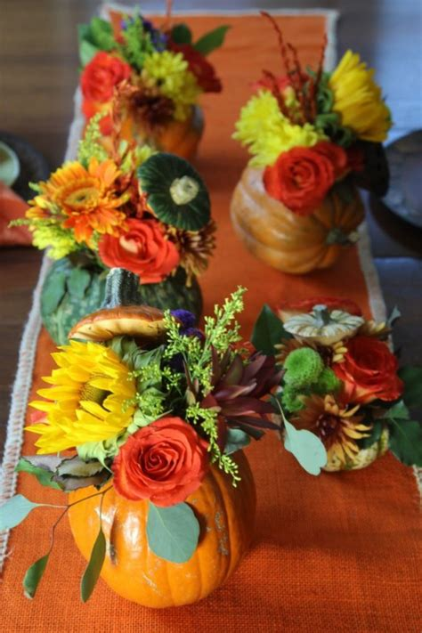 Thanksgiving Flowers by Thanksgiving Table Pumpkin Flower Centerpieces