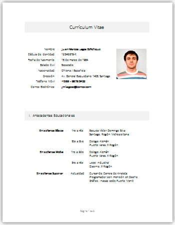 Modelo De Curriculum Vitae Simple En Word Para Llenar Peru Curr 237 Culum Vitae En Word Plantillas Formatos Y Ejemplos Para Descargar