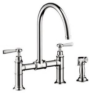bridge kitchen faucet with side spray hansgrohe 16818 axor montreux bridge kitchen faucet with