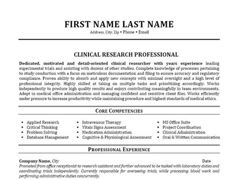 Clinical Research Template 1000 images about best research assistant resume