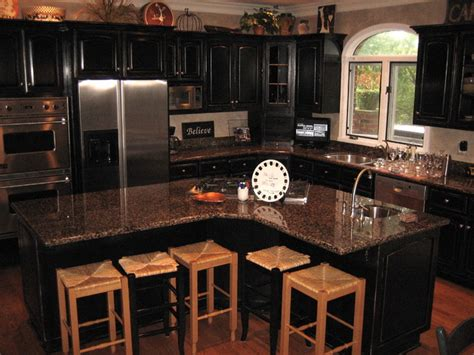 Handpained And Distressed Black Kitchen Cabinetry Black Cabinet Kitchen Designs