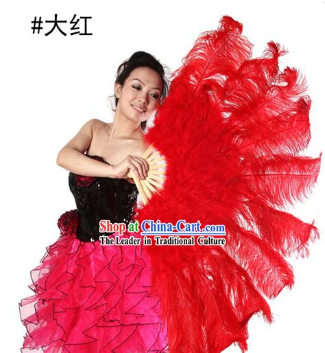 extra large feather fans red big ostrich feather fans