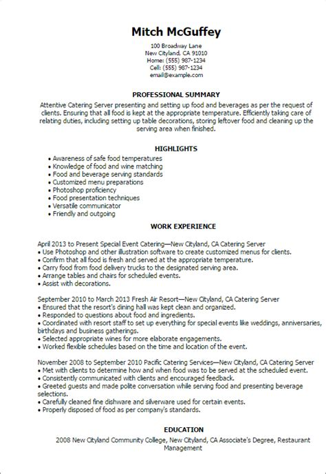 resume sles for servers professional catering server templates to showcase your