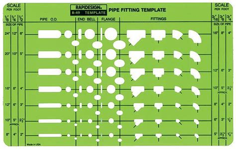 pipe fitting templates rapidesign r 49 pipe fitting flange drafting template